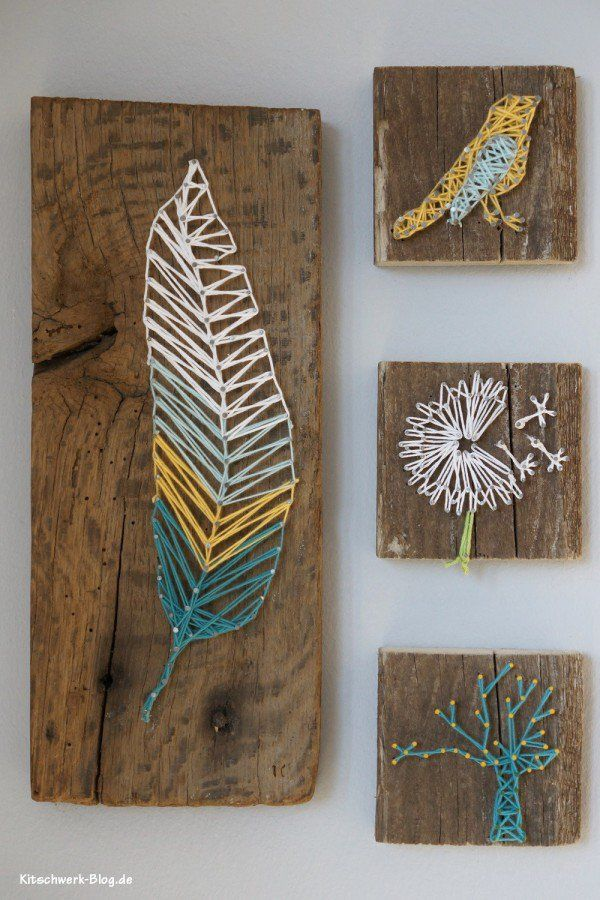 DIY: Nail and thread block art -  leaf, bird, dandelion + tree