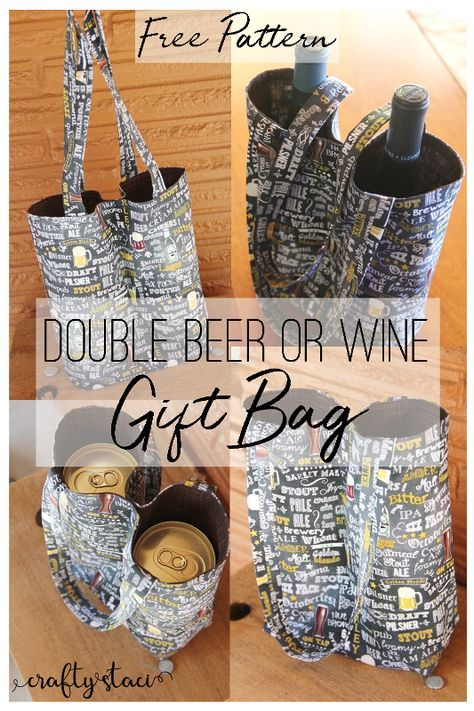 Double Beer Or Wine Gift Bag Craft Show Ideas Pinterest Gift