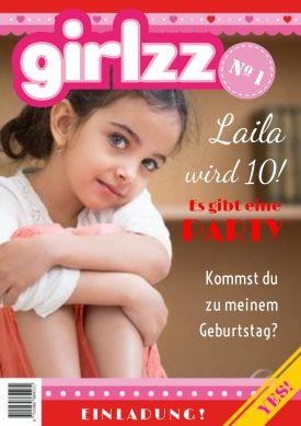 Und das jetzt mit einer Wikingerin auf dem Cover! Coole Einladung zum Kindergeburtstag in trendy Zeitschriften-Look mit Foto.