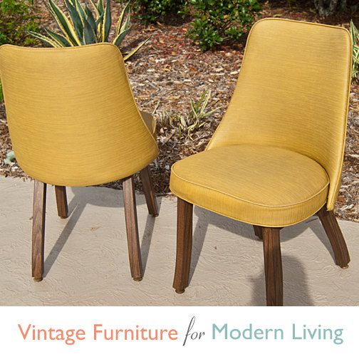 Pair Vintage Retro Harvest Gold Vinyl Dining Chairs By