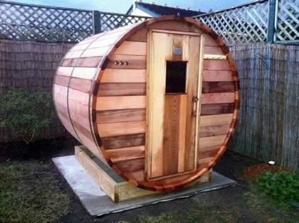 1.8m length Ukko Barrel sauna with traditional door