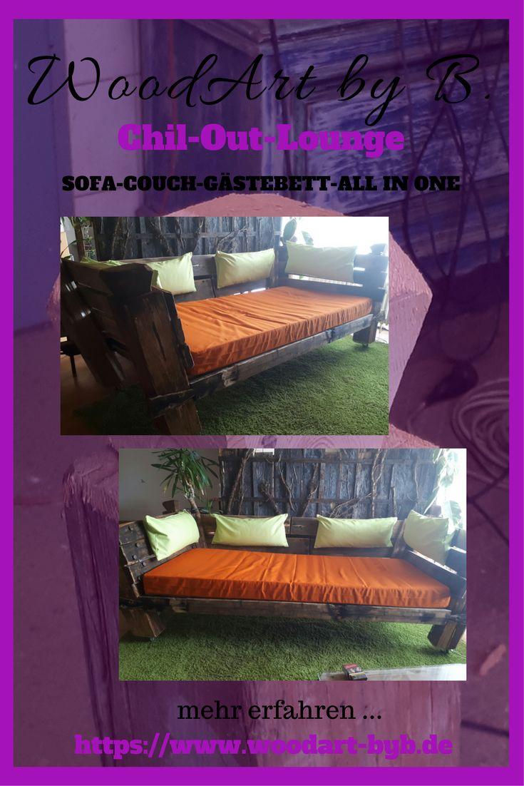 Aus alten Balken eines Dachstuhles und Teilen einer Palette entstand dieses Sofa, Couch,Gästebett und Chill-Out-Lounge.All in One. DIY im WoodArt Style.