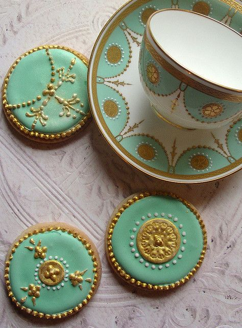 Minton - china cookies in teal / green / turquoise and gold