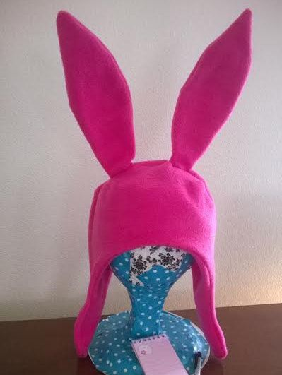 Display your sassiness with this pink bunny ear hat! Super warm and super cute, the ears stand 8 tall and are fully posable. The hat is constructed