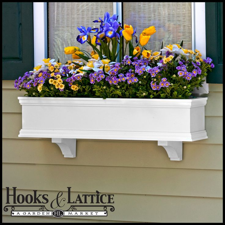 Flower boxes in this collection look just like wood - however, unlike natural wood, these rot-proof PVC composite window boxes are made to offer a lifetime of maintenance-free flower box enjoyment. Description from hooksandlattice.com. I searched for this on bing.com/images