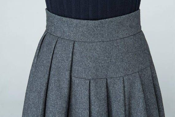 Wool skirt plus size skirt long skirt grey skirt pleated