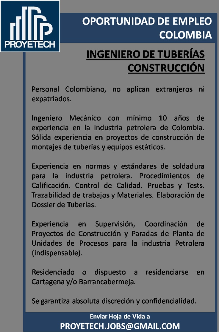 Colombia: Buscamos Ingeniero Mecánico experto Tuberías. Industria Petroleo. Construcción
