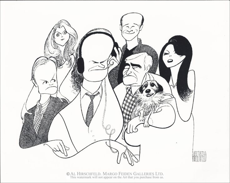 "Al Hirschfeld ~ Kelsey Grammer, David Hyde Pierce, Jane Leeves, Dan Butler, Peri Gilpin, John Mahoney, and Moose the Dog in ""Frasier"""