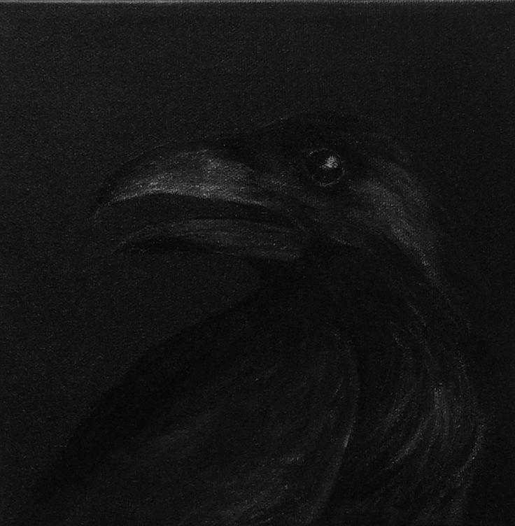 Black raven head on black  Acrylic on canvas