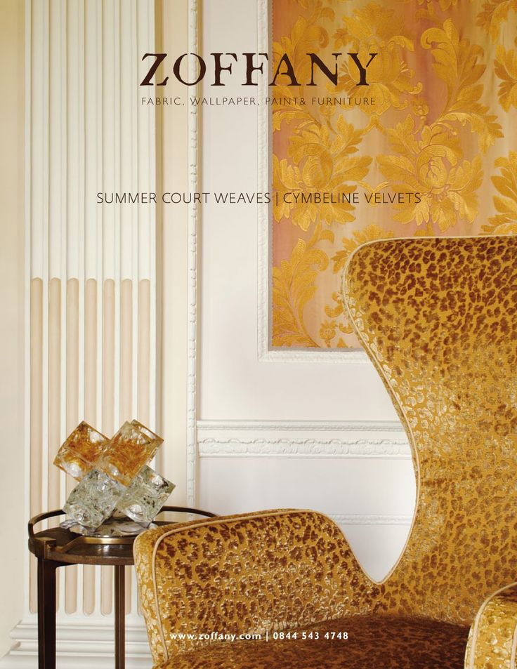ZOFFANY SUMMER COURT AUTUMN 2011 Summer Court is based on 19th century damasks and jacquard weaves. The campaign is composed of two images, this version in warm amber tones.