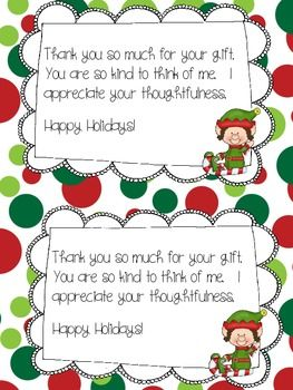 Holiday Thank You Cards Freebie by Kreative in Kinder | Teachers Pay Teachers