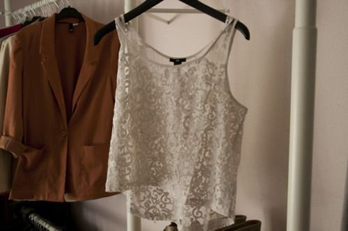 : Light Pink Blazers, Lace Tops, Shirts Style, Clothing, Dresses, Lace Tanks, Closet, Camels Blazers, Black Pants
