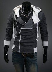 $14.06 Street Style Side Zipper Studs Embellished Long Sleeves Polyester Hoodies For Men