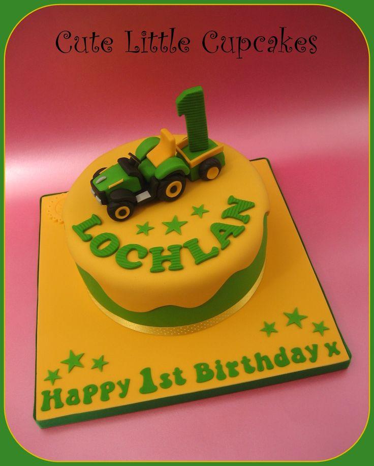 "7"" Classic Vanilla cake decorated with a mini John Deere children's tractor x"