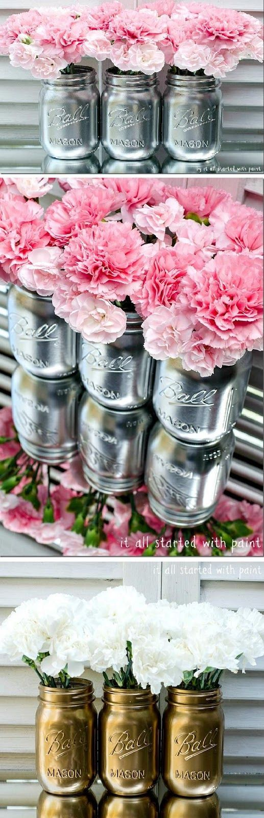 Pink flowers and white roses - Metallic painted mason jars!