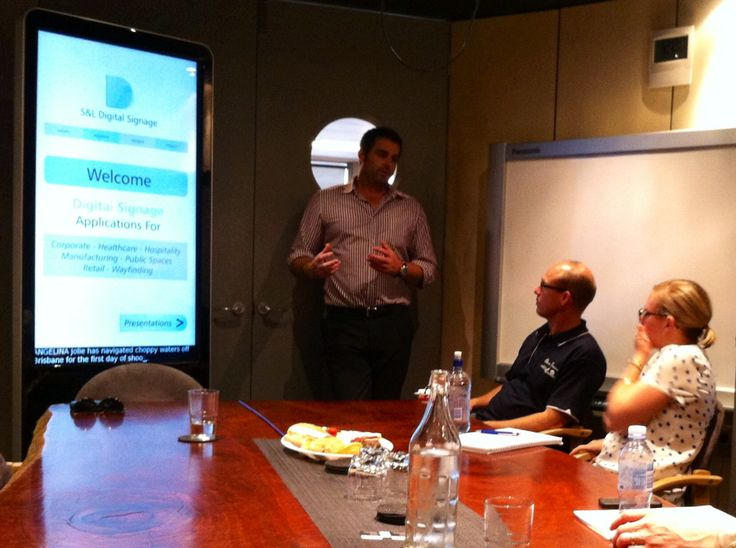 Tim introducing our new range of digital signage solutions to a client