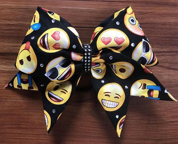 Emoji cheerleading bow. Cheer hair bow. Funny practice bow. Cheer coach #cheerleading #ad