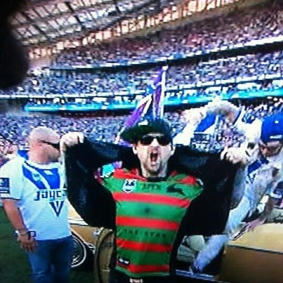 Benji Madden in a Rabbitohs jersey at the 2012 NRL Grand Final