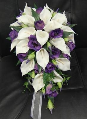 WEDDING BOUQUET FLOWERS BOUQUETS SILK TEARDROP WHITE CALLA LILY PURPLE SET POSY
