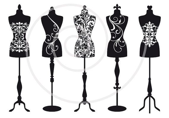 Vintage mannequin silhouettes, dress form, tailor's dummy, fashion illustration, digital clip art for shops, clipart, vector, download