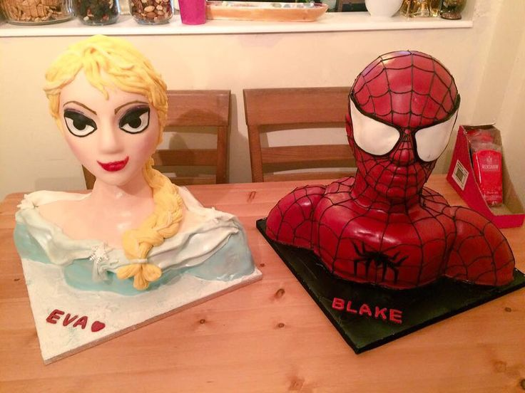 Elsa and Spider-Man Bust Cakes #bustcake