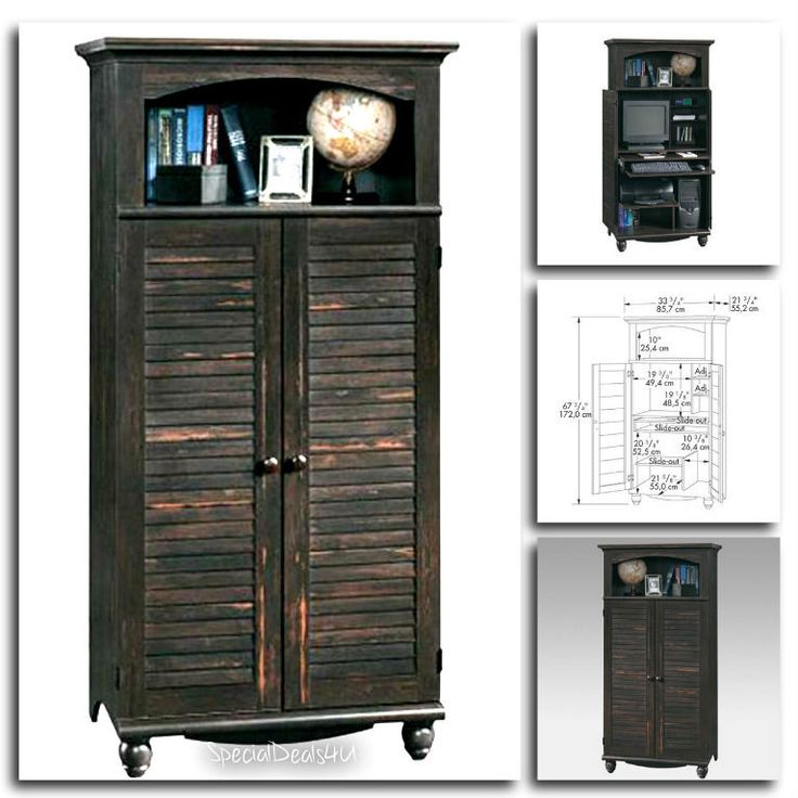 Antiqued Computer Armoire Cabinet Desk Wood Hutch Credenza WorkStation Home New…