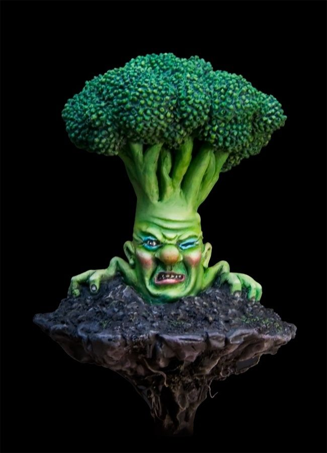 """Brocco the angry broccoli from my personal series the """"Grocery Lab"""". Sculpted and painted by me."""