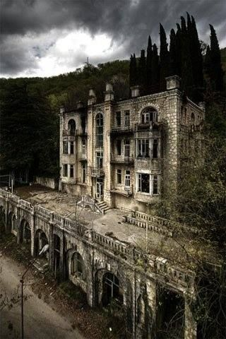 The abandoned Hotel Skala in the Gagra Mountains in Abkhazia - Georgia.