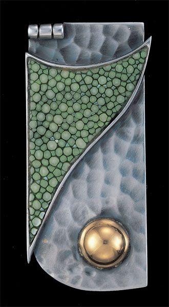 JEAN DESPRES / Art Deco 'Modernist Pendant' / Silver, Gold, Shagreen / French, c.1930