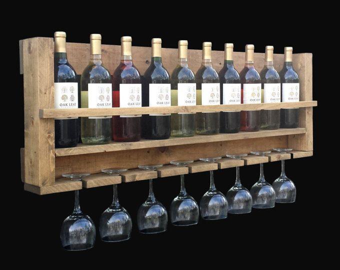Montado en estante del vino, pared del estante del vino, Botellero rústico, madera Botellero, Botellero grande, regalo de boda, regalo de aniversario, regalo de inauguración de la casa