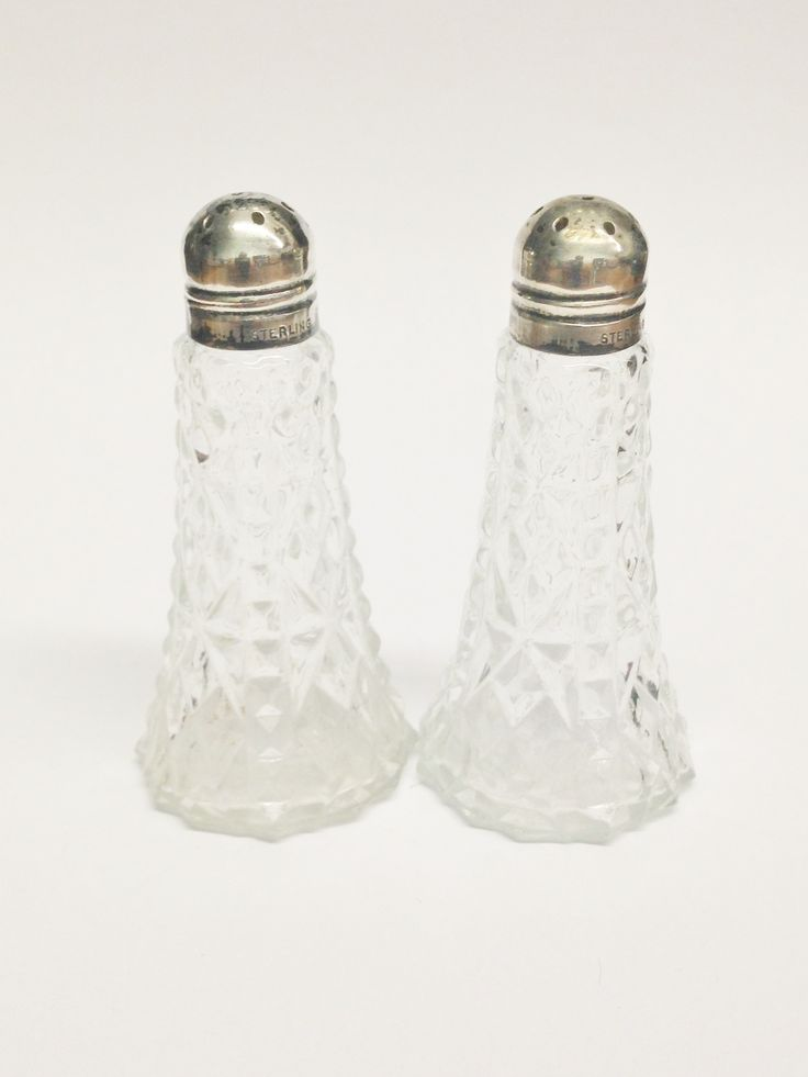 Vintage Glass and Sterling Silver Caps Salt & Pepper Shakers USA