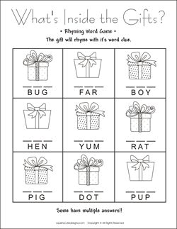 Christmas rhyming word game free printable party games kids party
