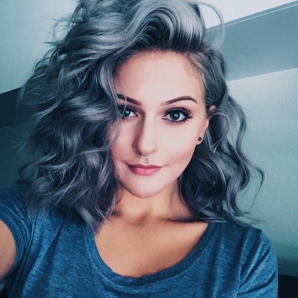 alternative, beautiful, color hair, curly, fashion, girl, grey, indie, instagram, makeup, pale, piercing septum, selfie, silver, site model, soft grunge, style, summer, viners, kimmyschram, kimmy schram