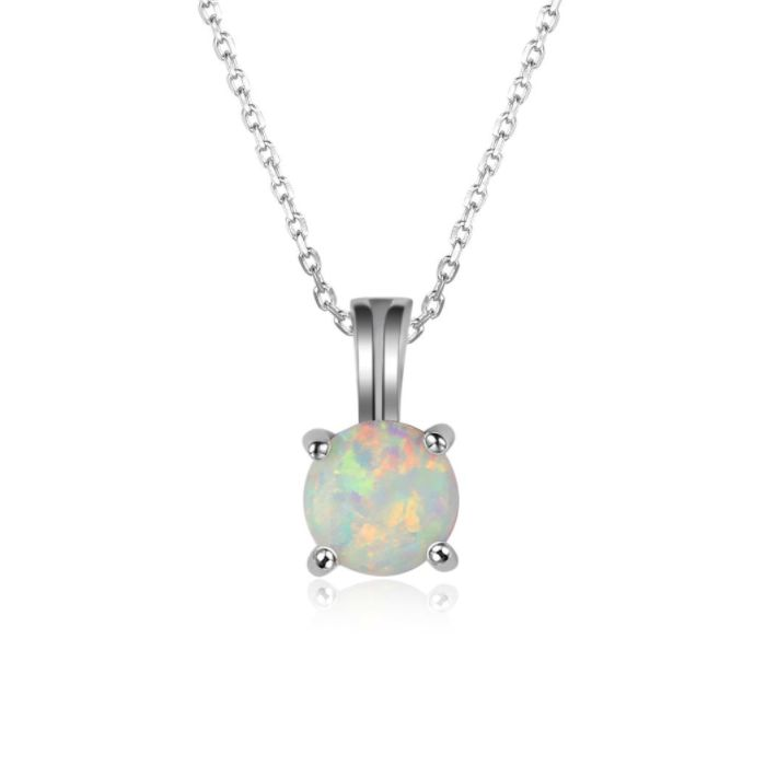 Post Included Aus Wide and to most international countries! >>> Round White Opal Necklace - 925 Sterling Silver