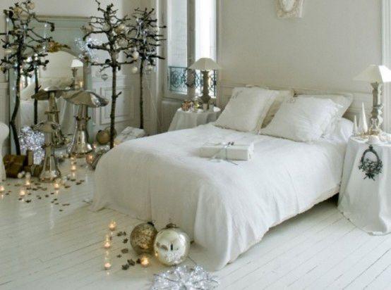 Camera da letto natalizia stile scandinavo