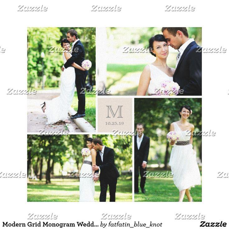 Modern Grid Monogram Wedding Photo Collage Canvas Print #ad