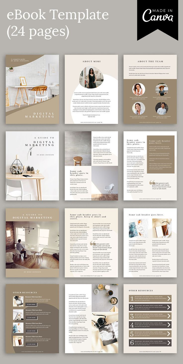 Mink Canva Ebook Template For Bloggers And Online Course Creators For Use As Info Products Or Lead Magnets Ebook Template Design Presentation Design Layout Book Design Layout