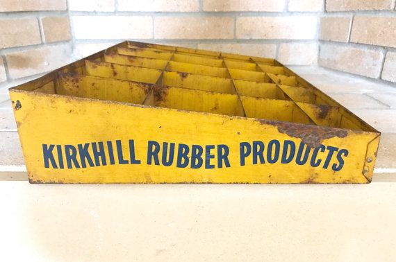 Kirkhill Rubber Products Metal Display / by MadisonMarketHouse industrial decor farmhouse decor storage organization vintage general store display
