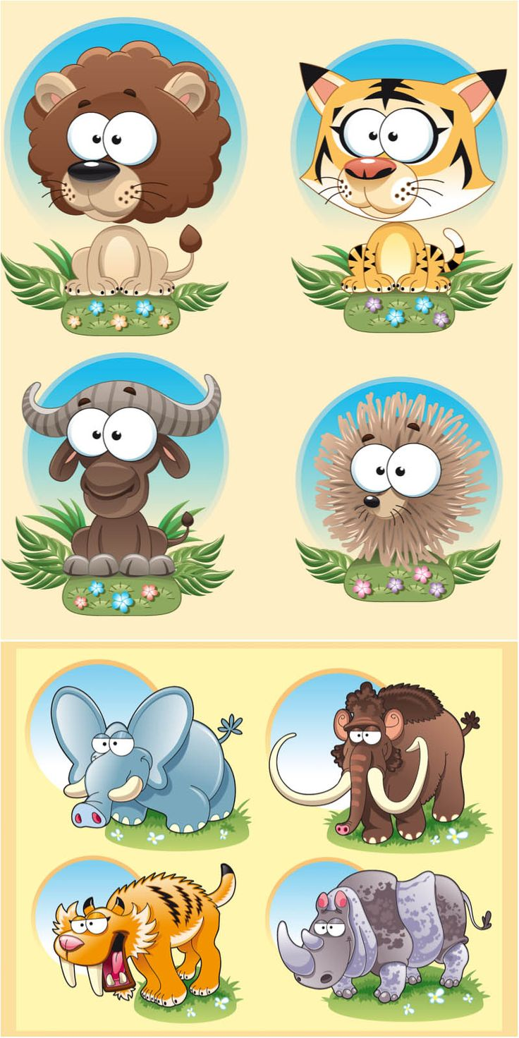 Funny animals templates vector