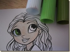 Copic Coloring :  This one uses a few Copics and mostly watercolor pens, but I like the eyes and the hair shading.