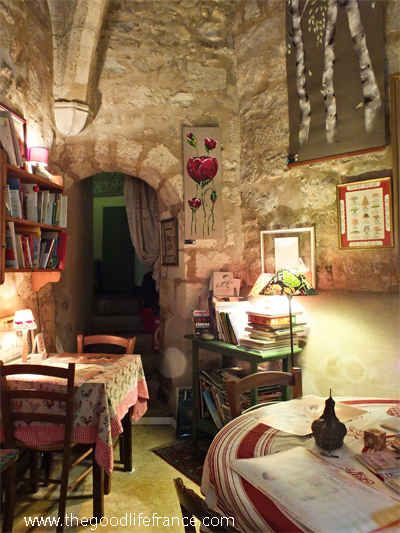 A tea shop in a Roman Tower in Bourges, Loire.