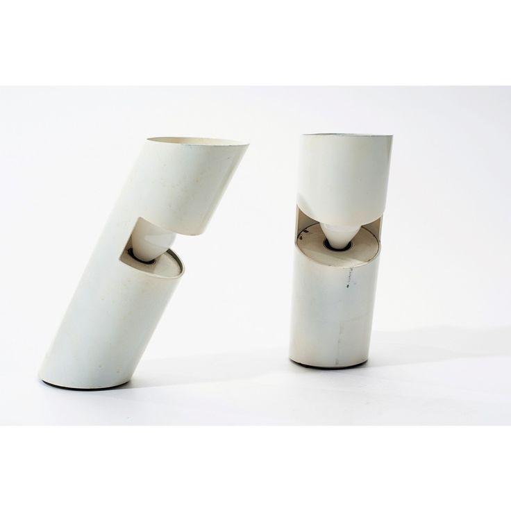 Coppia di lampade da tavolo designer Salvati & Tresoldi produttore Missaglia - Italia anno 1967 colore bianco in metallo