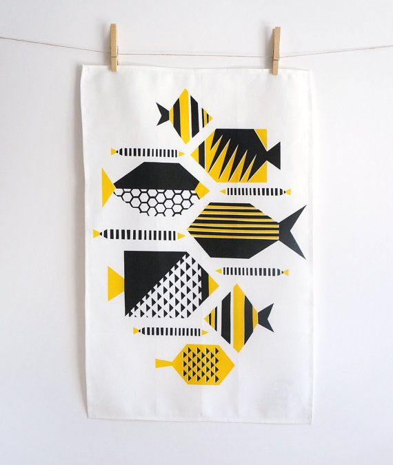 Hey, I found this really awesome Etsy listing at https://www.etsy.com/listing/206425614/yellow-tropical-fish-tea-towel-retro-mid