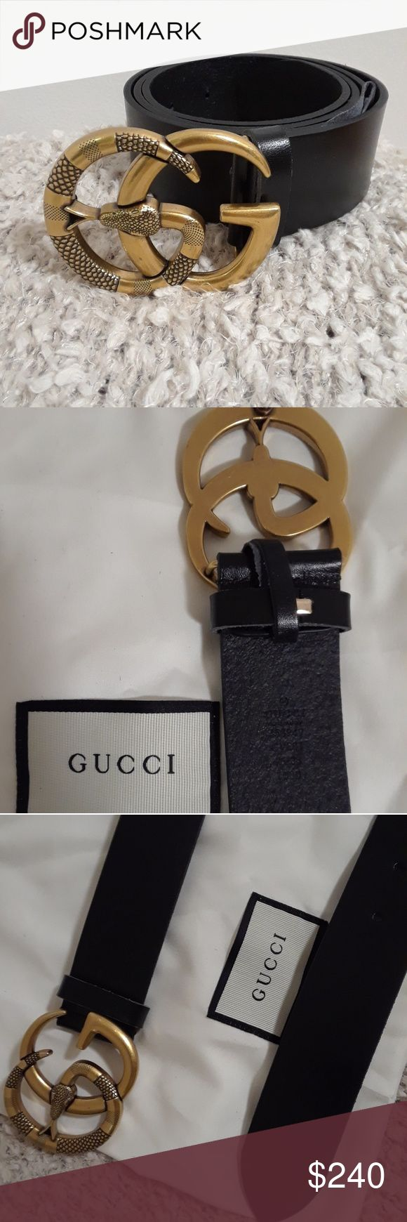 Brand new Gucci black leather belt Brand new Gucci black leather belt with double G sneak gold buckle 100% authentic or money back Gucci Accessories Belts