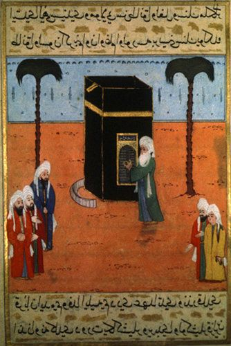 Abdul Muttalib at the Kaaba door, miniature from manuscript in Topkapi Palace Museum, Istanbul
