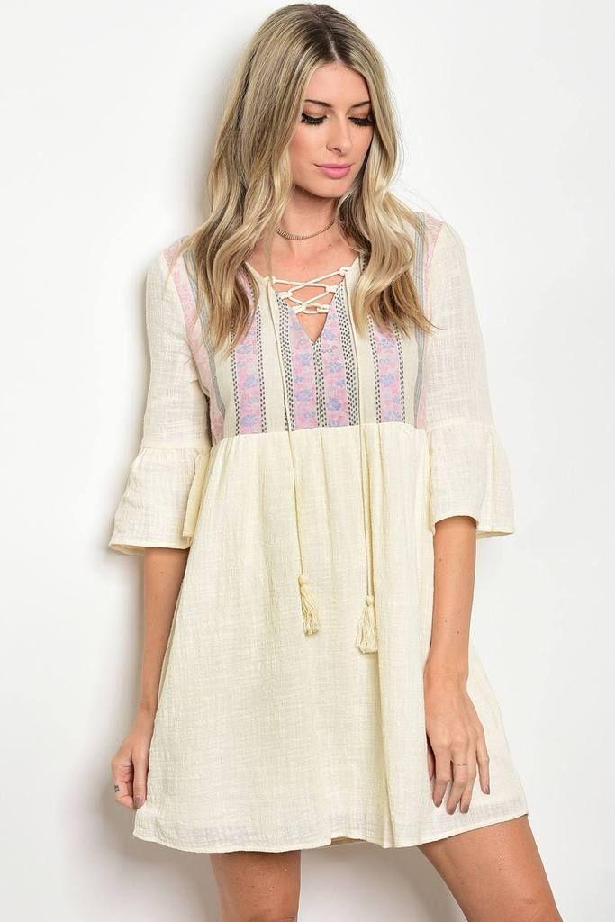 Ladies tassel tie neckline 3/4 bell sleeves shift dress