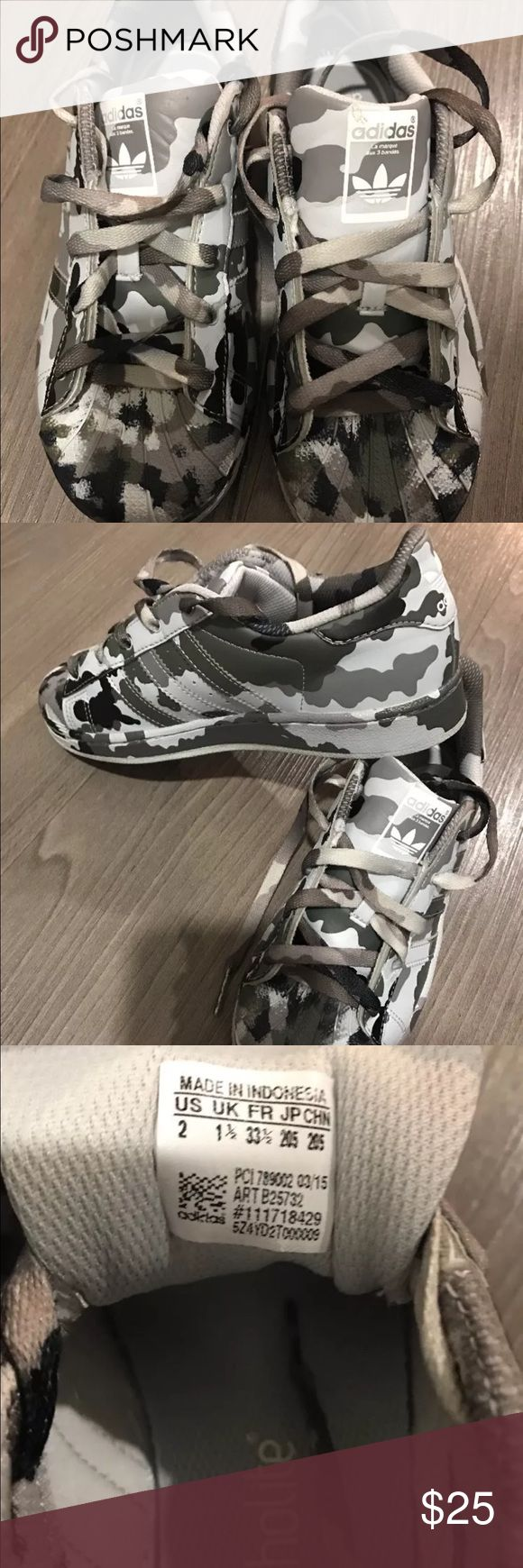Boys adidas camouflage sneakers limited edition This is a boys pair of adidas theyr new no box my son wore them for an hour theyr not his size these are size 2 big kids Adidas Shoes Sneakers