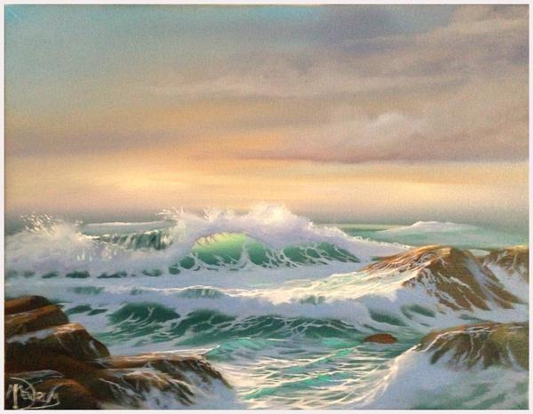 Sunset Seascape Oil Painting Waves Crashing Off The Rocks Oilpaintingseascape Oilpaintinglove Landscape Paintings Seascape Artwork Seascape Paintings