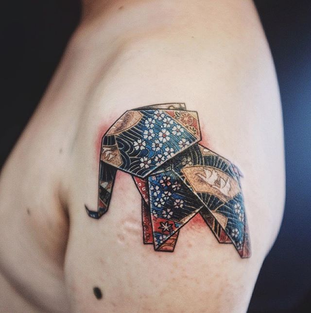 Origami Elephant tattoo by mulie addlecoat                                                                                                                                                                                 More
