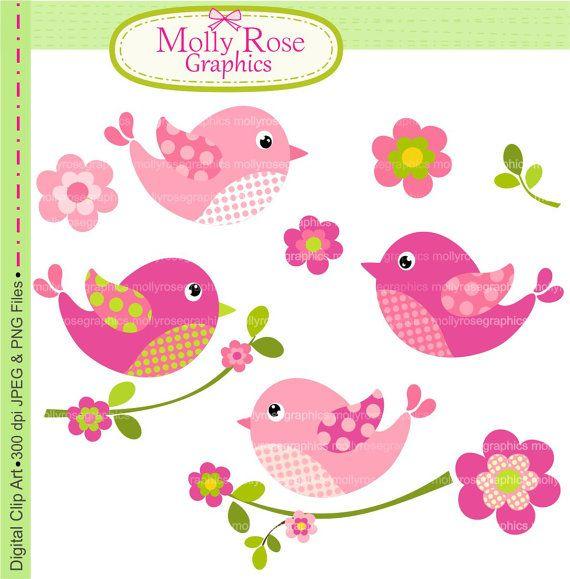 Aves Imágenes Prediseñadas, Digital Clip Art pájaros y flores, invitación, tarjeta que hace, Scrapbooking, rosa, M.34